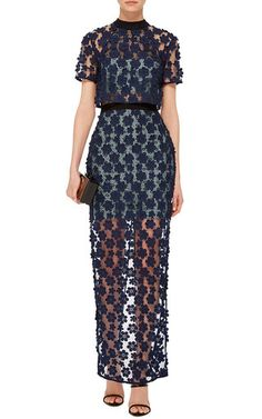 Short Sleeve Maxi Dress by SELF PORTRAIT Now Available on Moda Operandi