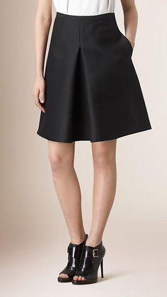 Black Pleat Front Cotton Silk A-Line Skirt - Image 1