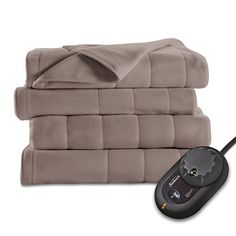 Sunbeam Quilted Fleece Heated Blanket, Twin, Mushroom ** To view further for this item, visit the image link.