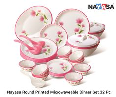 Contains in a decorative gift pack 6 full plates, 6 quarter plates, 12 small vegetable bowls, 2 large serving bowls, 2 lids serving bowl, 2 large serving spoons, 1 rice plate, 1 rice spatula. The set is Microwave safe, Refrigerator safe & Dishwasher safe.