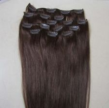 """A""""OK 28"""" Remy Human Hair Clip In Extension #6 140g 8Pcs Lightest Brown"""