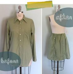 DIY Clothes DIY Refashion DIY Skirt From A Mens Shirt http://www.lazy-saturdays.com/2012/05/the-button-up-refashion-swap/