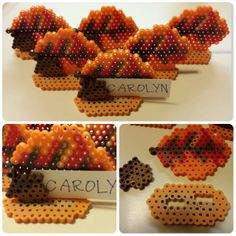Leaf and acorn place card holder perler beads by Carolyn Hoes