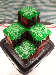 Pretty cool... I just made a cake similar to this for my son's 9th birthday. I followed some of this gal's instructions (primarily for the cubed cake - very clever) and topped it with homemade marshmallow fondant (also pinned on my cake decorating board) instead of green icing... My son is SUPER excited by it! ~ KT DIY: Minecraft Terrain Block Cake