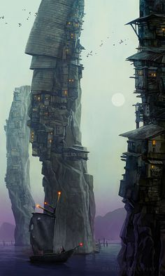 Sea Village, Daniil Kozlovsky on ArtStation at https://www.artstation.com/artwork/930zv