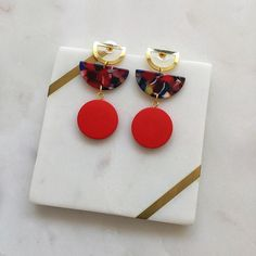 Excited to share this item from my #etsy shop: Red Blue Resin Acetate Half Moon Red Wood Circle Gold Stud Fashion Statement Earrings Handmade - Lightweight - Red Earring - Resin - Acetate Red Earrings, Statement Earrings, Wood Circles, Red Wood, Gold Studs, Earrings Handmade, Red And Blue, Resin, Jewelry Design
