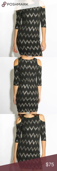 Eight Sixty Cold Shoulder Dress Sexy black cold shoulder dress with silver chevron striping. Soft, stretchy material for a sleek silhouette. Perfect for cocktail parties, date nights, girls' nights out, and more! Eight Sixty Dresses Mini
