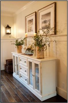 Dining room hutch of white.