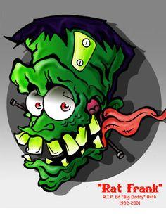 "A tribute to Ed ""Rat Fink"" Roth. Ed Roth Rat Frank Tribute Cartoon Rat, Cartoon Kunst, Graffiti Drawing, Graffiti Lettering, Ed Roth Art, Koi Dragon, Rat Fink, Garage Art, Comics"