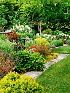 Cottage side yard garden from BHG - like the large, wide stone edging, too