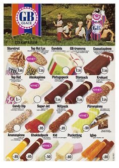 GB ice cream 1971 Ice Cream Prices, Ice Cream Poster, Advertising Poster, Childhood Memories, Sweden, Retro Vintage, Nostalgia, Drake, Food And Drink