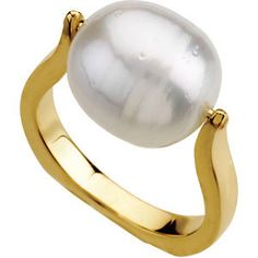 14kt Yellow South Sea Cultured Pearl Ring
