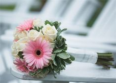 Pink Gerberas and White Roses