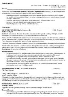 resume examples this resume example begins job applicants profile highlighting skills customer service operations bullet