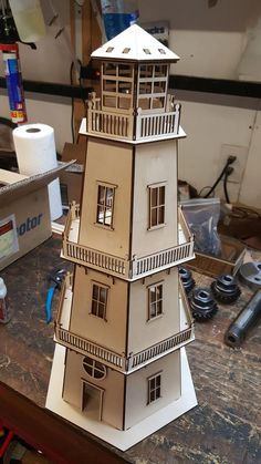 dekorieren kinder Lighthouse dollhouse Model puzzle Toys for children Vector plan of the CNC wood, wooden, vector graphics,laser,DXF Cnc Wood, Dollhouse Kits, Victorian Dollhouse, Flexible Plywood, Planer, Cnc Router, Cardboard Toys, Cardboard Playhouse, Cardboard Furniture