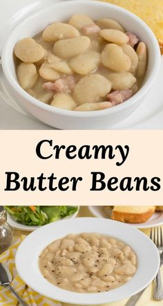 Creamy Old Fashioned Southern Butter Beans Butter Beans Recipe - learn how to make creamy butter beans the old fashioned way starting with dried beans. Meatless or meat added is your choice! Perfect as a main dish or a classic Southern side dish. Southern Side Dishes, Southern Dinner, Lima Bean Recipes, Soup Recipes, Meatless Recipes, Beans Recipes, Recipes With Dried Beans, Soul Food Recipes, Chili Recipes