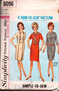 Simplicity 6096 Junior Shift Dress Vintage Sewing Pattern #1960s #dress #junior #ladies #simplicity #vintage #patterns #sewing #retro #vintagestitching