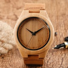 2017 New Arrival Handmade Bamboo Minimalist Wristwatch Men Leather Strap Nature Wood Women Creative Watches Modern Relogio Gift