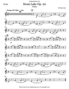 Swan Lake Op. 20 Waltz by Tchaikovsky. Free sheet music for violin. Visit toplayalong.com and get access to hundreds of scores for violin with backing tracks to playalong.