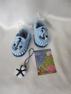 Baby Boy Booties...Anchor boy booties...Crochet Anchor booties...Crochet Sailor booties on Wanelo