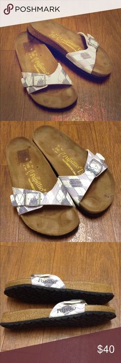 Birkenstock Papillio Madrid sandal Madrid style one strap sandal, pattern has a drawn on look with dark grey, light purple grey and touches of light pink on a white background, silver buckle, very minor wear so much life in these! Size 37 Birkenstock Shoes Sandals