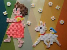 Mosaic-like illustration style Melty Bead Patterns, Hama Beads Patterns, Beading Patterns, Bead Crafts, Diy And Crafts, Crafts For Kids, Fuse Beads, Pearler Beads, Melting Beads