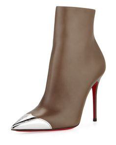 """Christian Louboutin Calamijane Red Sole Ankle Boot with Metallic Wing-Tip Why toe the line? This matte-and-metallic Christian Louboutin bootie features a wing-tip, borrowed from the boys. Christian Louboutin """"Calamijane"""" ankle boot in soft, smooth leather. Shoes neimanmarcus.com"""