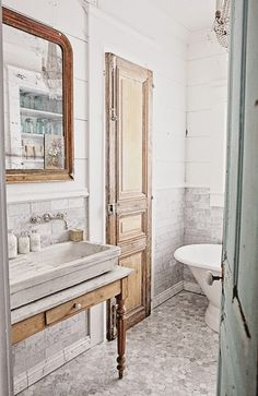 interior Dreamy Whites: French Inspired Bathroom Remodel, Carrera Marble Subway Tile, Hex Tile, and House Bathroom, Vanity Inspiration, Bathroom Styling, French Country Bathroom, Stone Sink, Marble Subway Tiles, Bathrooms Remodel, Beautiful Bathrooms, Bathroom Inspiration