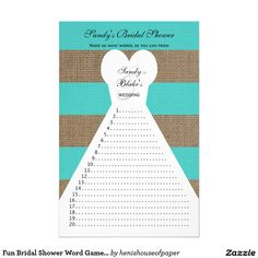 Fun Bridal Shower Word Games Turquoise
