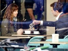 Dakota Johnson and Jamie Dornan film scenes for Fifty Shades of Grey in Vancouver.