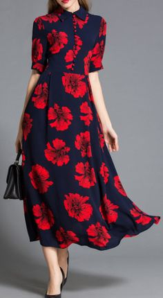 Red Flower Print Buttoned Dress
