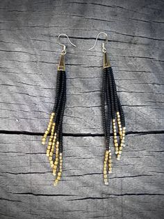 Black and Gold Earrings, Beaded Fringe, Native American Inspired Seed Bead Earrings, Sleek and Sexy - CUSTOMIZABLE COLORS AVAILABLE. $30.00, via Etsy.