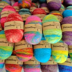 Felted Soap Unique Gift | ONE Brightly Multicolored Bar by TheTwistedPurl on Etsy