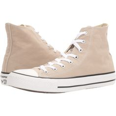 Converse Chuck Taylor All Star Seasonal Hi (Papyrus) Classic Shoes ($48) ❤ liked on Polyvore featuring shoes, sneakers, taupe, lace up sneakers, metallic high tops, metallic shoes, converse trainers and high top shoes