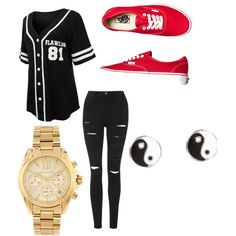 Casual Date Night by nicolehenderson518 on Polyvore featuring polyvore fashion style Topshop Vans Michael Kors River Island
