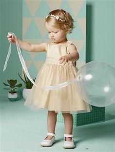 Vestido de cerimónia em tule e cetim, para bebé menina primavera-verão 2015