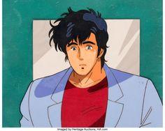 City Hunter Ryo Saeba Production Cel Setup with Painted Background (Sunrise, c. 1987-88) City Hunter, Sunrise, Auction, Anime, Art, Art Background, Kunst, Cartoon Movies, Anime Music