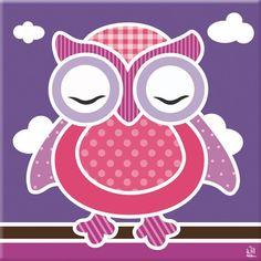 kinderkamer schilderij uil paars roze