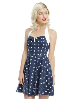 Hell Bunny Valencia Anchor Mini Dress, BLUE Anchor Print, Band Outfits,  Dress Outfits b22aae3518
