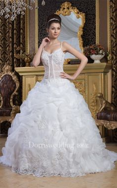 #Valentines #AdoreWe #Dorris Wedding - #Dorris Wedding Spaghetti-Strap Pick-Up Illusion Top and Ball-Gown With Lace - AdoreWe.com