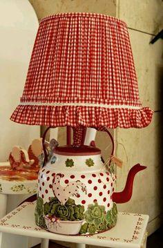 Çaydanlık lamba # DIY Home Decor unique 25 Unique Lighting Fixtures, Creative … Teapot Lamp, Rooster Decor, Decoration Bedroom, Red Cottage, Unique Lighting, Lighting Design, Lighting Ideas, Red Gingham, Lampshades