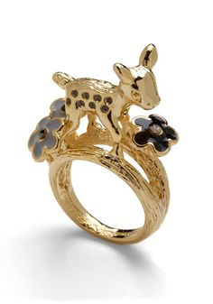 Modcloth Fawn Never Stops Ring  With this en-'deer'-ing ring upon your finger, the good times will be unending! Flaunting an adorable fawn figure standing tall among black and grey enamel blooms, this golden ring will bring a twinkle to the eye of all who espy it. Slide it on with a meadow-printed dress, a pair of leather sandals, and jersey turban, then go dazzle all you know with your high-spirited personality and haute-level style!