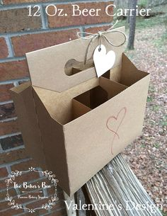 """Set Of 4 • Kraft 12 Oz Cardboard 6-Pack Beer Carrier • 7-5/8""""  x 5-1/4""""  x 8""""  • Great For Home Brew  + Craft Beers • Valentine's Design - A by TheBakersBin on Etsy"""