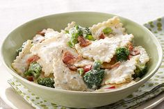 This easy weeknight dish starts with refrigerated cheese ravioli. It ends with pasta tossed in a creamy Parmesan sauce with broccoli and crumbled bacon.