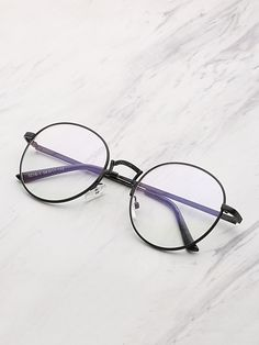 1b64fb35d8 Shop Contrast Frame Clear Lens Round Glasses online. SheIn offers Contrast  Frame Clear Lens Round