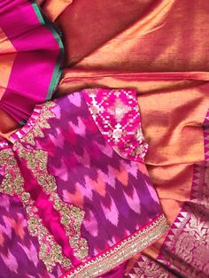 Interesting combination of fabrics. Cotton with silk is a very usual combo. But the design marries them together so well.