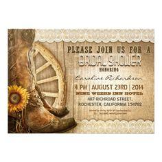 cowboy shoes sunflowers wood white lace - bridal shower invites