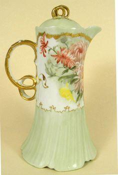 Beautiful Antique Haviland Limoges CFH - GDM Hand Painted Chocolate Pot