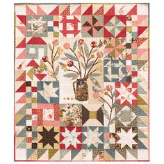 """""""Sequoia Sampler Quilt"""" by Alex Anderson Sampler Quilts, Scrappy Quilts, Mini Quilts, Baby Quilts, Quilt Kits, Quilt Blocks, Laundry Basket Quilts, The Quilt Show, Country Quilts"""