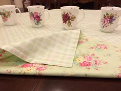 MADE TO ORDER Shabby Chic Table Topper, Reversible, Tanya Whelan Print Table Topper by comfortandjoyfabrics on Etsy